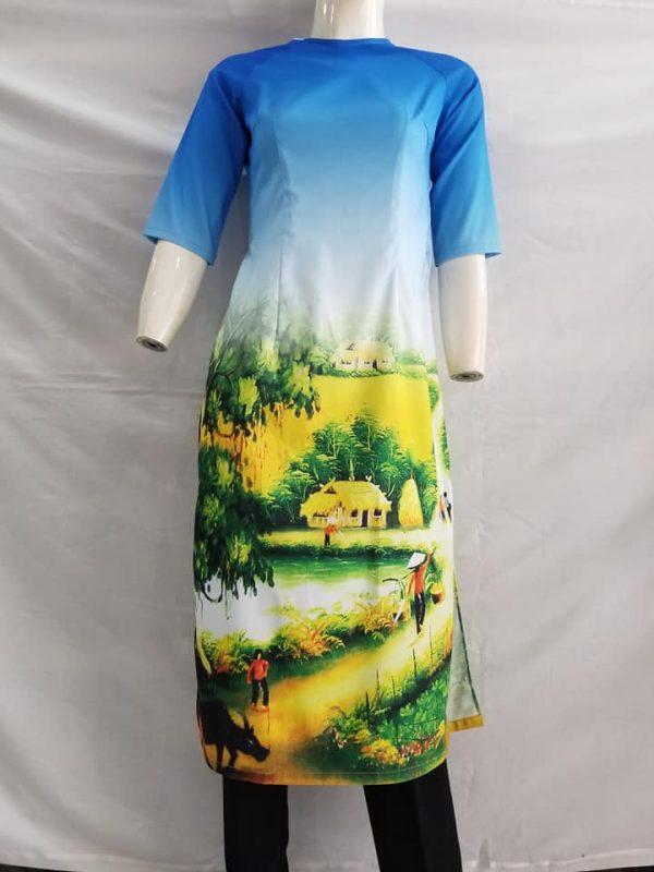 Mẫu áo dài các tân cảnh đồng quê
