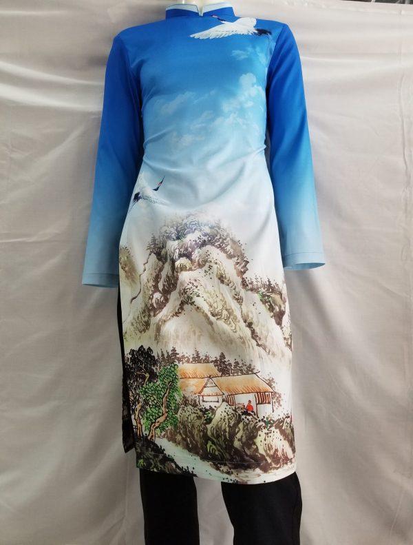 Mẫu áo dài cách tân nam màu xanh Đức Thành Thiết Kế